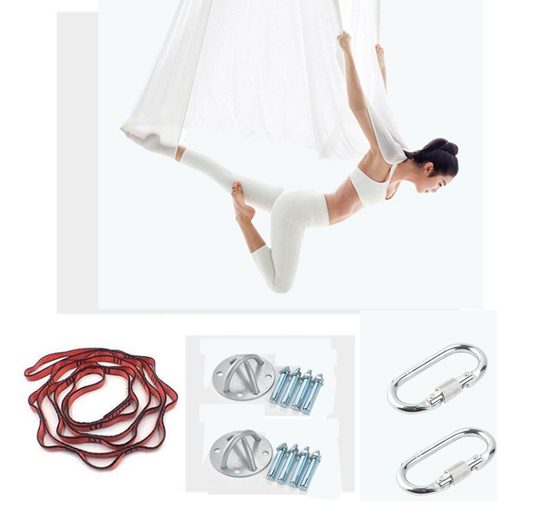 XHL Art Aerial Yoga Schaukel Stoff Stretch Durable Yoga Hängematte Antenne Seide 5 Meter Yoga Hängematte Pilates Dance Ausrüstungen,Gelb,XL