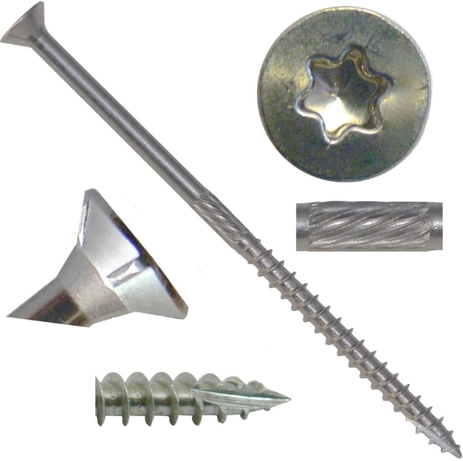 """#10 X 4"""" Silver Star Stainless Steel Wood Screw Torx/Star Drive Head (1 Pound - 56 Approx. Screw Count) - Grade 305 Stainless Steel Torx/Star Drive Wood Screws"""