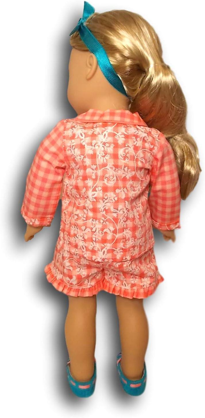 FOR GIRLS S 7//8 American Girl Doll Tenney Grant Gingham Pajamas Set RETIRED