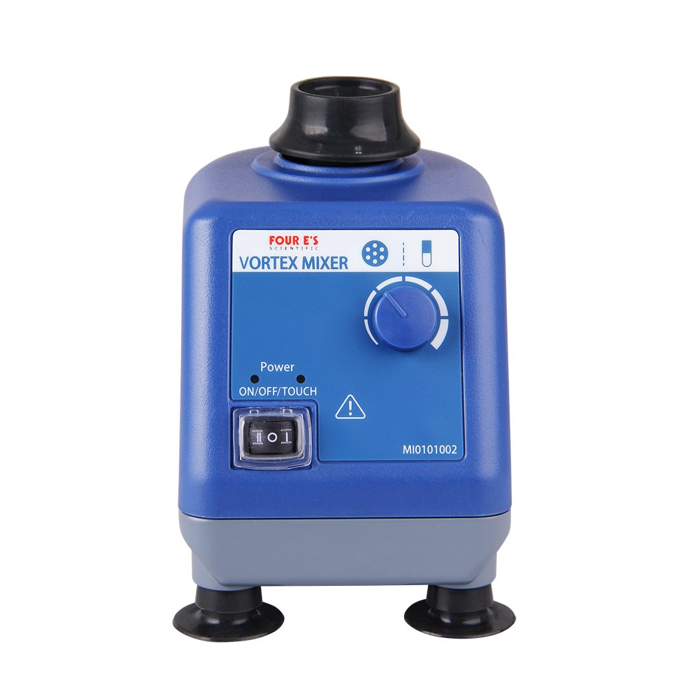 Four E's Scientific Laboratory Vortex Mixer Speed 0-3000rpm, Orbital Diameter 6mm, 50/60Hz, Touch and Continuous Modes, Mix 50ml containers Within 3 Seconds - Benchtop for Clinic Classroom Lab by FOUR E'S SCIENTIFIC
