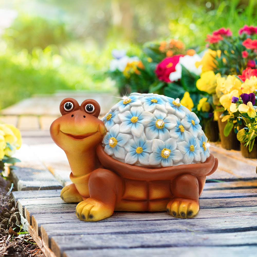 Petrala Solar Turtle Figurine Lights Garden Decor 9 LEDs Small Outdoor Lighting for Yard Patio