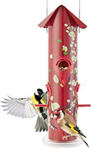 Kingsyard Bird Feeders Outdoor Hanging Wild Bird Feeders Metal Tube Weatherproof Bird Feeder with 6 Ports 1lb Bird Seed Capacity for Oriole Finch Cardinal for Garden Yard NOT Squirrel Proof