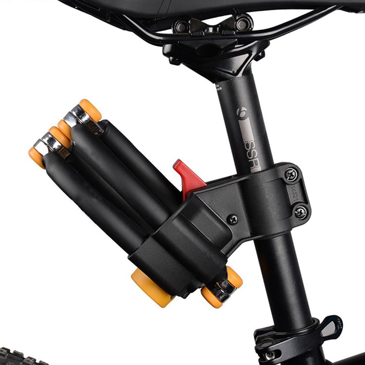AKM Bike Lock, 4 Joints Alloy Steel Folding Bike Lock Anti-hydraulic with Complimentary Mounting Bracket
