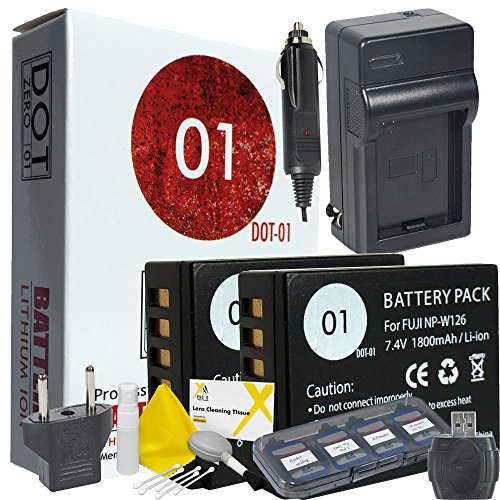 DOT-01 2X Brand Fujifilm X-H1 Batteries Dual Slot USB Charger Fujifilm X-H1 Mirrorless Fujifilm X-H1 Battery Charger Bundle Fujifilm NPW126 NP-W126