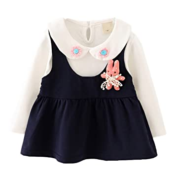 602b0ab1c676e  SEBLES ベビー服 女の子 女子 ワンピース ドレス 無地 兎 うさぎ マスコット シャツ 襟 スカート 花