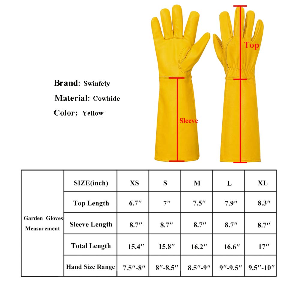 Swinfety Rose Pruning Thorn /& Cut Proof Elbow Length Durable Cowhide Leather Garden Work Gloves for Pruning Cacti Rose and Thorny Bushes Gardening Gloves for Women//Men X-Small, White