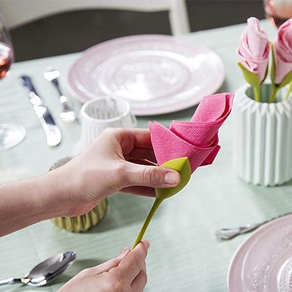 juego de 8 servilletas de pl/ástico con tallo verde y soporte para servilletas de color blanco para hacer arreglos de mesa originales A Servilleteros para mesas