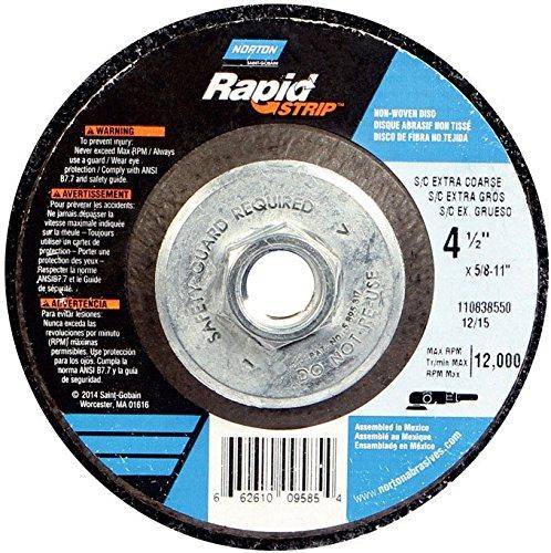 Rapid Strip - Norton Bear-Tex Rapid Strip Depressed Center Nonwoven Abrasive Wheel, Type 27, Fiber Backing, 5/8-11