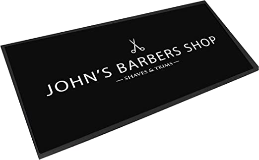 Personalised with your name black /& white shaves /& trim Barber Shop Counter mat