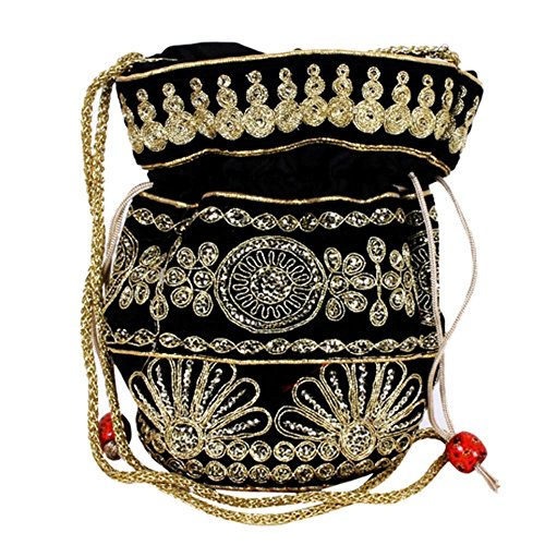 Purpledip Potli Bag (Clutch, Drawstring Purse) For Women With Intricate Gold Thread & Sequin Embroidery Work, Black (10037)