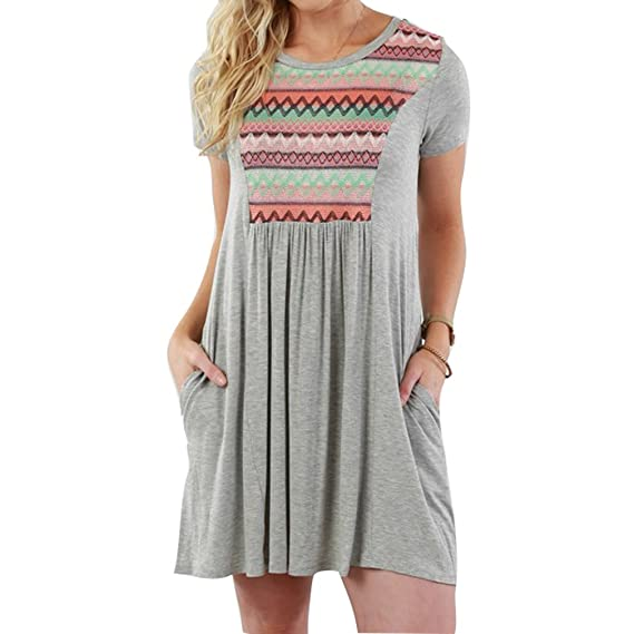 junkai Mujeres Rodilla-longitud Vestidos playa Vestir Verano Vestir Vendimia Mini Vestir Mujer Casual Redondo Cuello Blusa Vestir Moda Vestir Casual Ropa ...