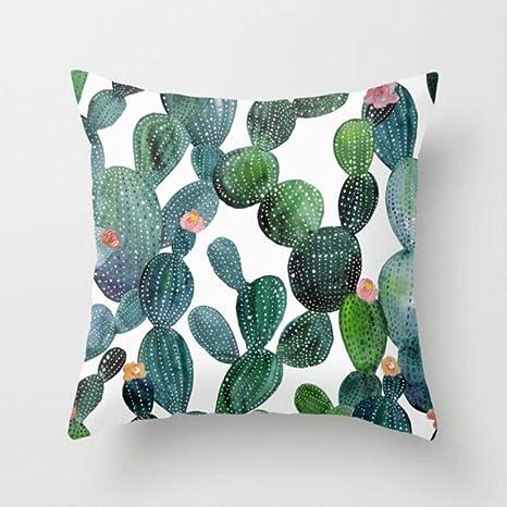 Cojín Naranja Retro Hojas Verdes Cactus Funda de cojín de ...