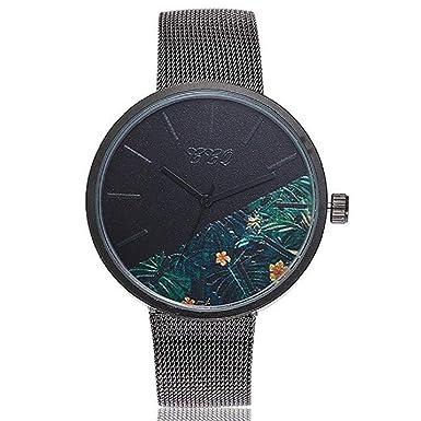 Reloj de Cuarzo para Mujer Flor de Moda Banda de Malla de Acero Inoxidable Elegante Casual Relojes analógicos (D): Amazon.es: Relojes