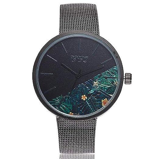 Reloj de Cuarzo para Mujer Flor de Moda Banda de Malla de Acero