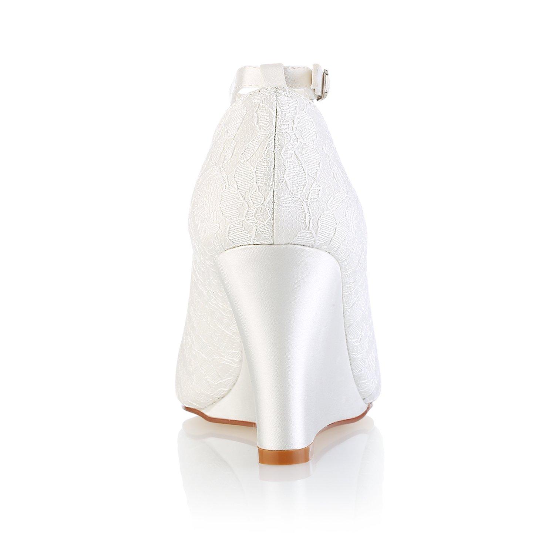 KeilDamen Schuhe Stretch - Satin Satin Satin Frühling Sommer Pumps Hochzeit Schuhe Absatz Peep Toe Schnalle für Hochzeit Party & Festivität Elfenbein - b9ab0d