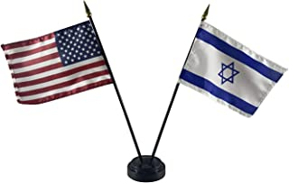 product image for 4x6 E-Gloss Israel Stick Flag w/U.S. Stick Flag & 2 Flag Plastic Table Base - Made in The USA