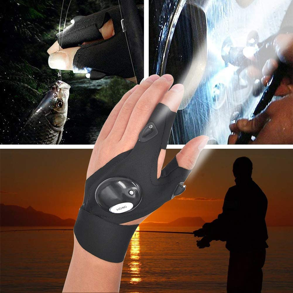 LED Flashlight Glove Outdoor Fishing Gloves With Stretchy Strap Screwdriver for Repairing Cars Night Running Fishing Camping Hiking in Dark Place (1 Pair) - -