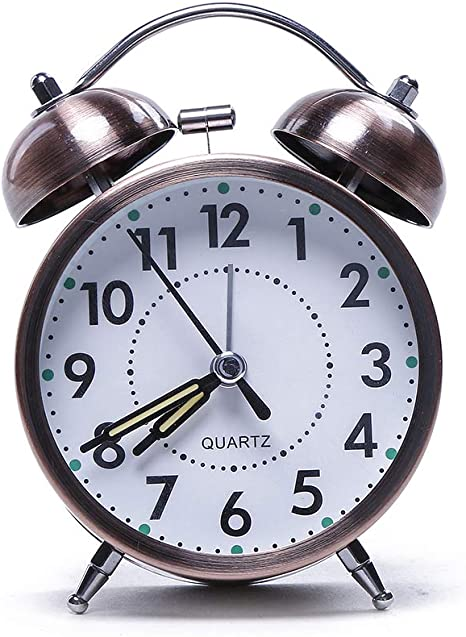 Electomania Twin Bell Metal Table Alarm Clock with Night LED Display (Brown) Alarm Clocks at amazon