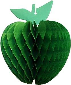 3-Pack 7 Inch Honeycomb Apple Decoration, Light Green