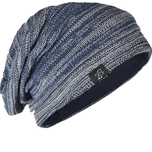 Z&S Vintage Men Baggy Beanie Slouchy Knit Skull Cap Hat (Navy with Gray)