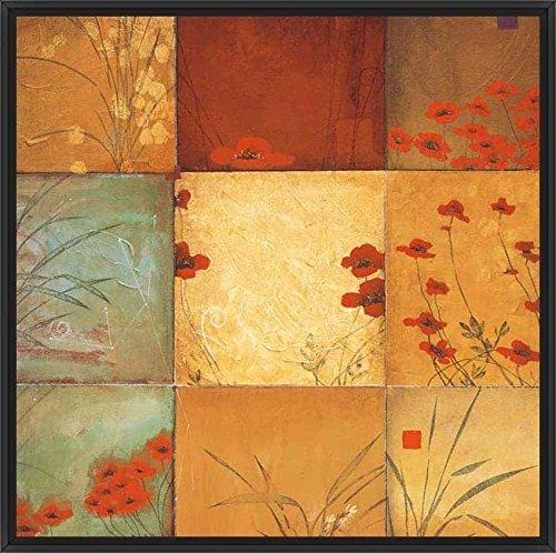 21.75in x 21.75in Poppy Nine Patch by Don Li-Leger - Black Floater Framed Canvas w/ ()