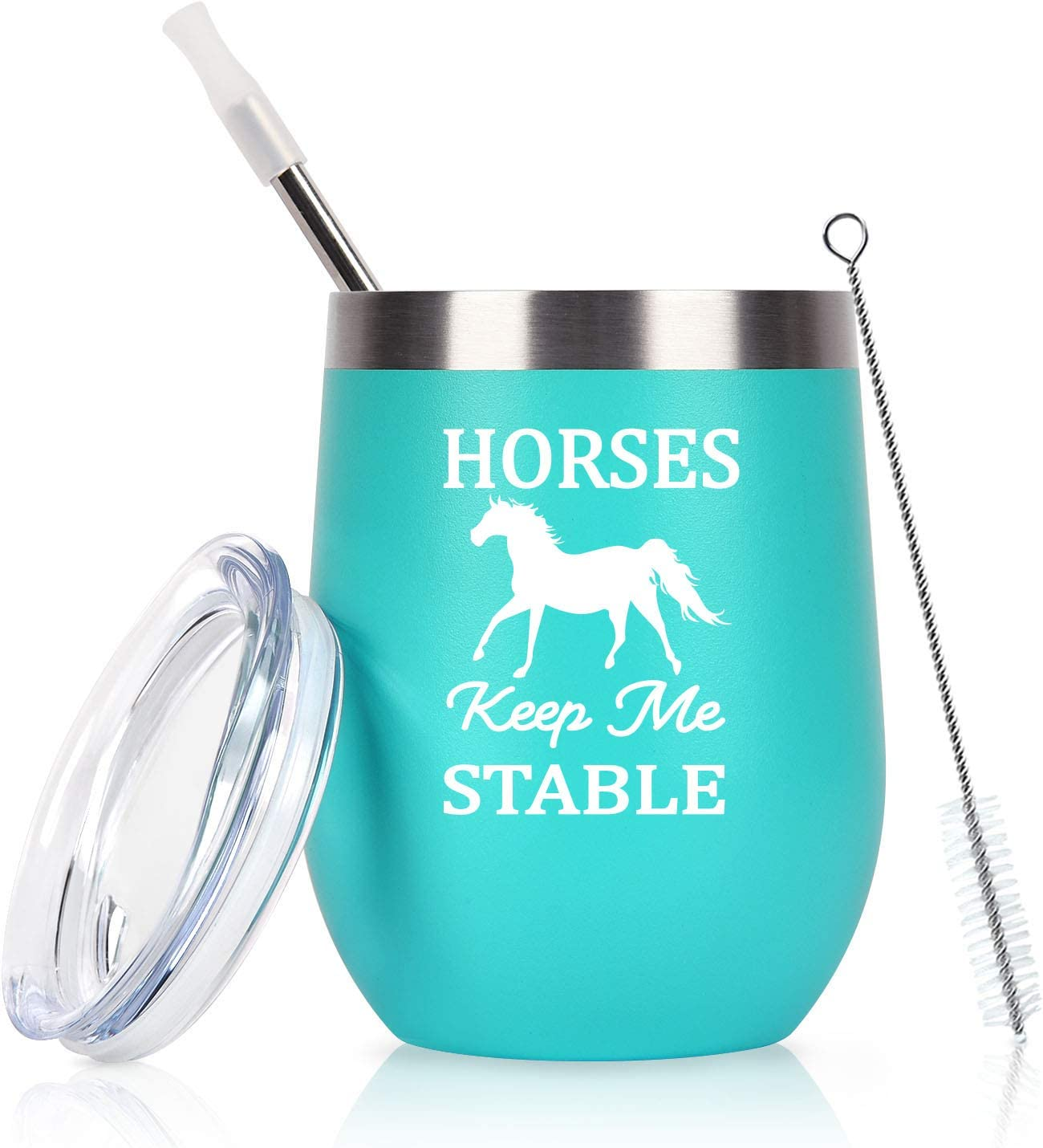 Horse Gifts For Women, Horses Keep Me Stable Wine Tumbler with Lid, Funny Birthday Christmas Gifts for Horse Lovers, Girls, Mom, Friends, Aunt, Sister, 12 Oz Insulated Stainless Steel Tumbler, Mint