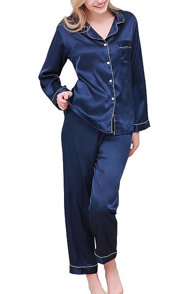Dolamen Pijamas Camisón para Mujer, Mujer Largo Camisones Raso Satin Parejas Pijamas, lencería Collar