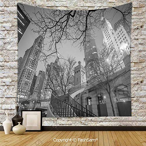 FashSam Polyester Tapestry Wall Chicago Downtown Night Highrise Buildings Tree Branches Decorative Hanging Printed Home Decor(W59xL78)