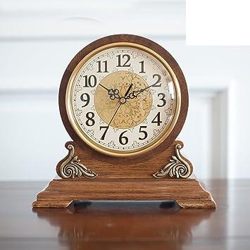 Europeo sólido madera reloj relojes antiguos de salón reloj de mesa Simple creativo silencioso reloj gran americano-A: Amazon.es: Hogar