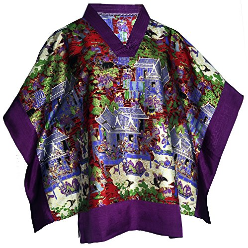 Amazing Grace Sexy V-Neck Kimono Tunic Batwing Sleeves Short Mumu Top (Violet) - Kimono Silk Tunic