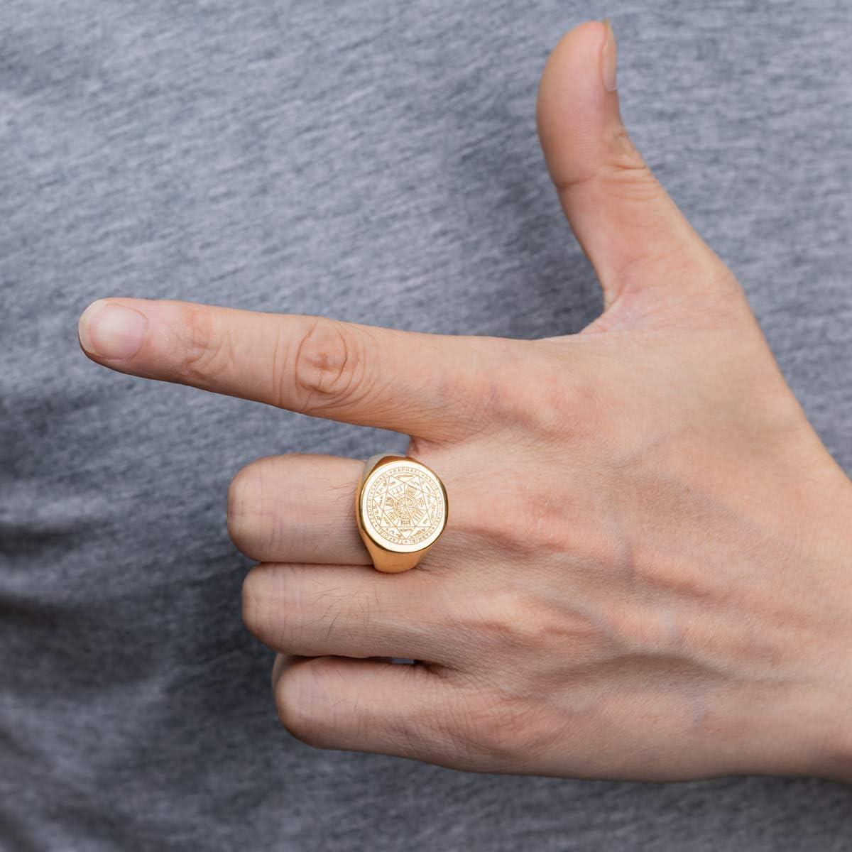 Or 18K// Noir Taille 54-70 Valily Homme Bague Sceau des 7 archanges Talisman de Protection Acier Inoxydable 316L