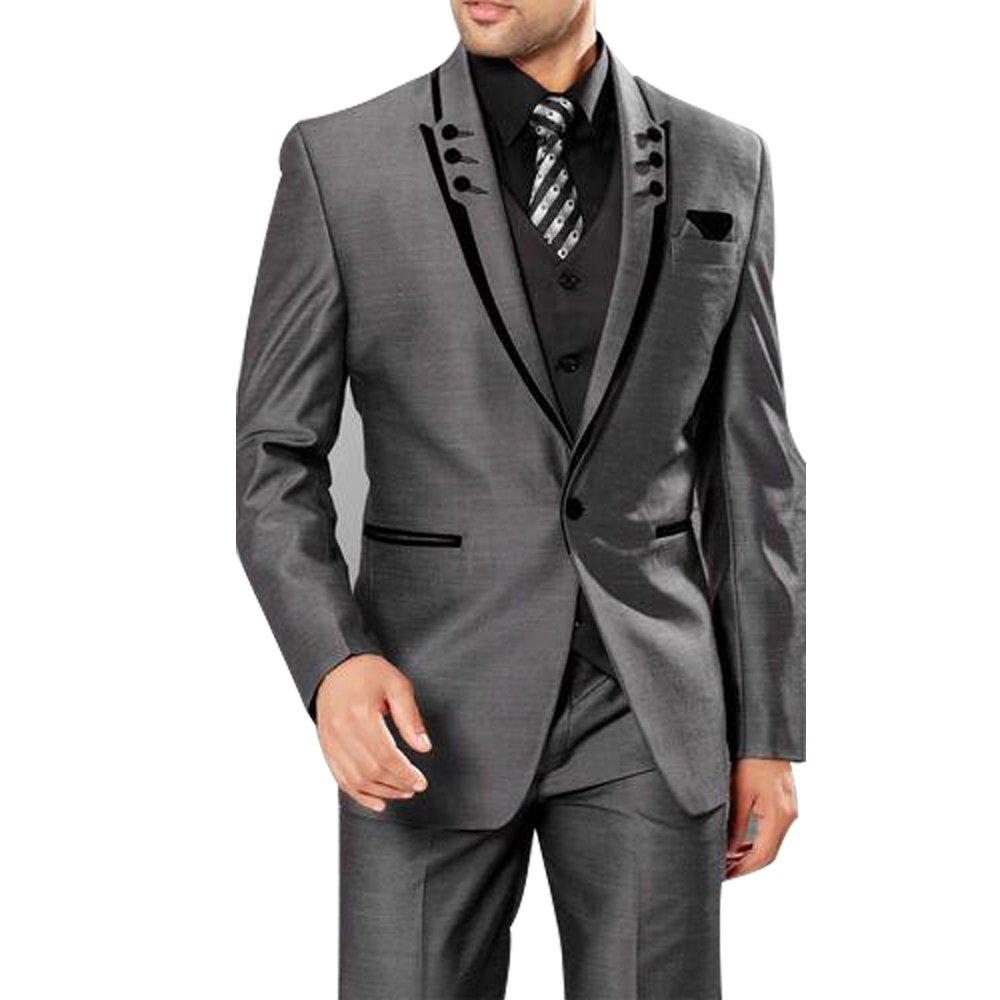 HBDesign Mens 3 Piece 1 Button Peak Lapel with 6 Button Suits (Jacket Vest Pants)