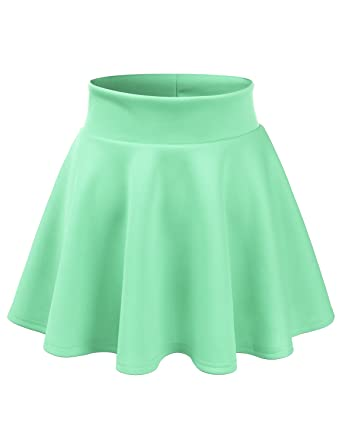 4d4f07b0614 CLOVERY Versatile Elastic Waist Flared Mini Skater Skirt (Plus size  available) Cyan S