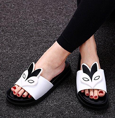 Sagton Women Sexy Fox Pattern Sandal Summer Peep-toe Comfort Platform Flat Heels Slippers White HN7c6F7