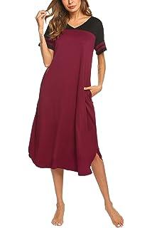 76247984d2aa85 Nachthemd Damen Pyjama Kleid Nachtkleid Schwangere Schlafanzuge Sommer V- Ausschnitt Kurzarm Nachtwäsche Kleid