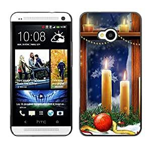 YOYO Slim PC / Aluminium Case Cover Armor Shell Portection //Christmas Holiday Window Candles 1199 //HTC One M7