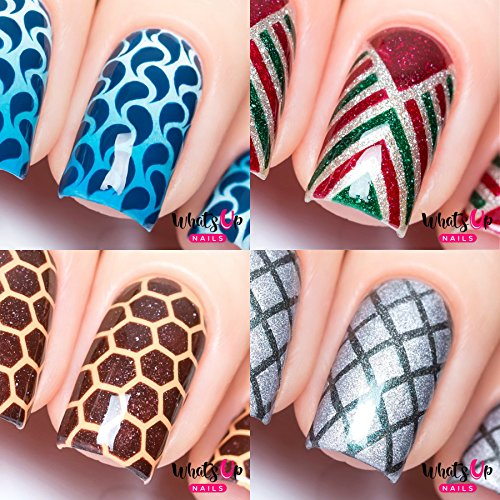 Whats Up Nails - Nail Vinyl Stencils Variety Pack 4pcs (Droplets, Art Deco, Honeycomb, Diamond Pattern) for Nail Art Design
