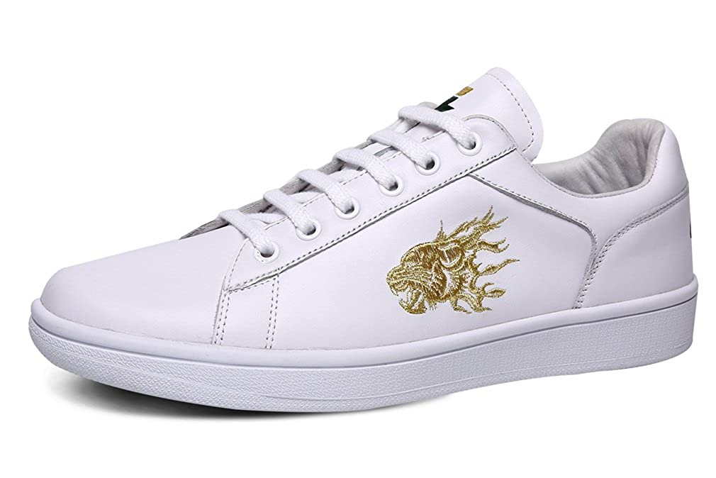 Unisex Stylish White Leather Skateboard Sneakers with Tiger Print