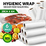 Vacuum Food Sealer Roll Bags Saver Seal Storage Heat 6m x 28cm (6 Pack)