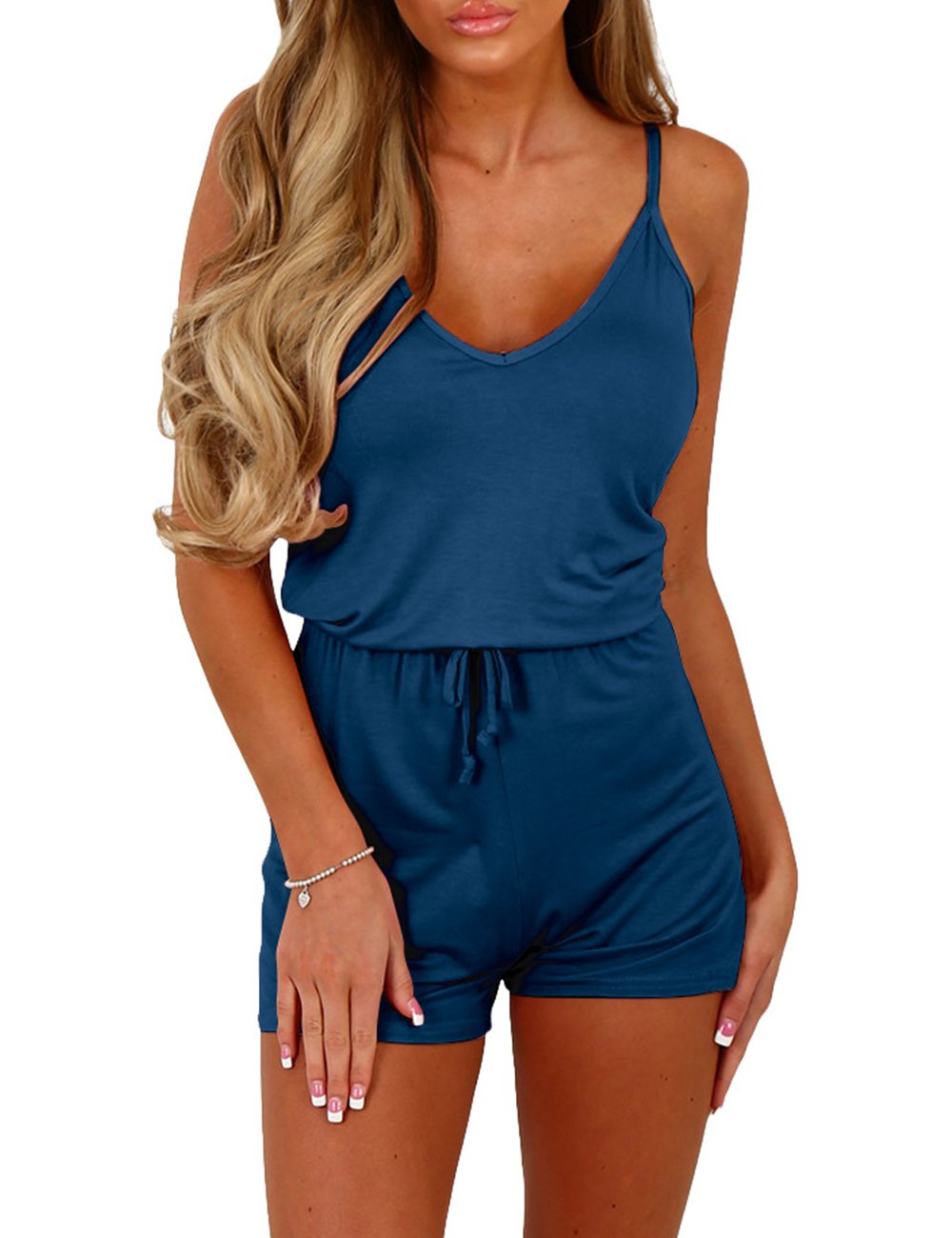 Sexyshine Women's Sexy Spaghetti Strap V Neck Beachwear Short One Piece Rompers Jumpsuits(Be,S)