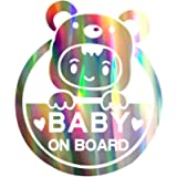 biinfu Reflective Baby on Board Sign for Car, Caution Decals Reflective Kids Safety Warning Sticker Marks for Driver…