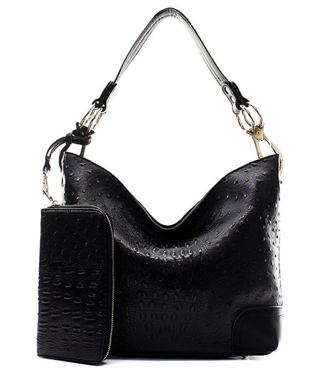Handbag Inc Ostrich Vegan Leather Shoulder Hobo Handbag and Wallet (Black)