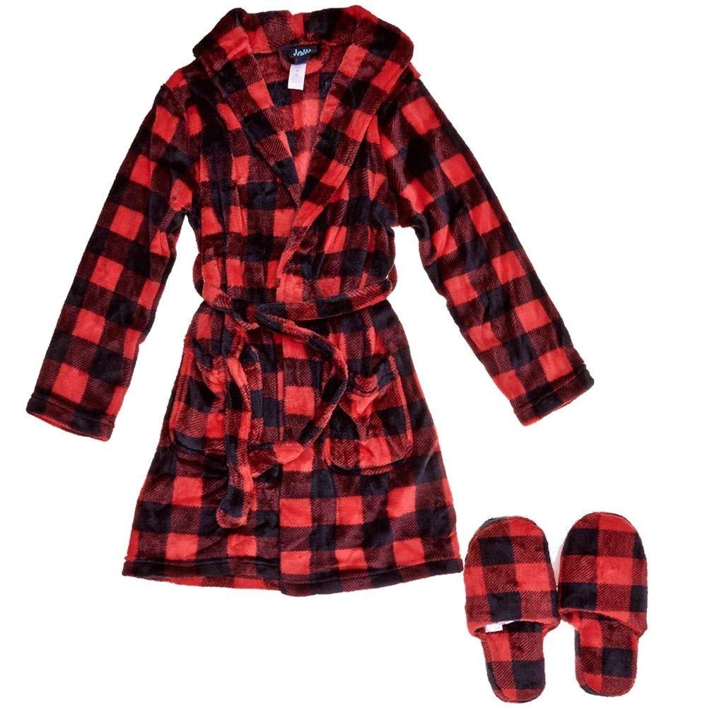 Boy's Size 8, Medium Buffalo Plaid Luxe Fleece Bathrobe and Slippers Set Red, Black