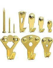 Kuuqa 140 Piezas Ganchos para colgar en cuadro de oro Heavy Duty Picture Frame Kit para