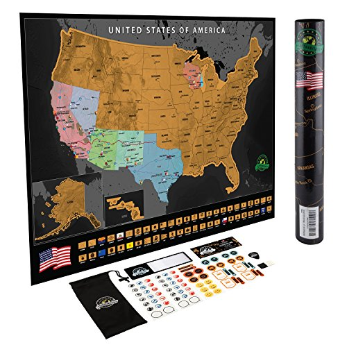 Scratch Off USA Map Poster - Travel Map with State Flags and Landmarks - Tracks Your Adventures! Scratcher Included - Perfect Travel Gift - by Earthabitats