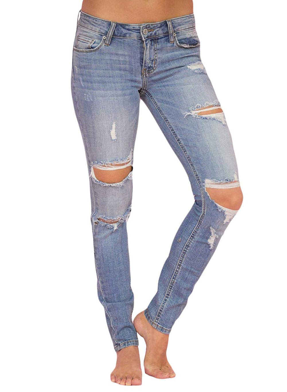 Shawhuwa Womens High Waisted Slim Fit Stretch Ripped Hole Skinny Wash Blue Jeans Distressed Petite Denim Pants