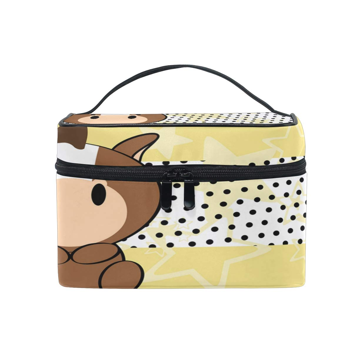 Cosmetic Bag Cute Baby Horse Makeup Bag Travel Toiletry Bag Cosmetic Train Case Make-Up Tote Organizer Box Storage With Mesh Bag Brush Holder for Women Kids Girls Men