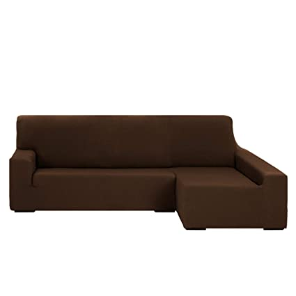 Funda Chaise Longue Elástica Modelo Libia, Color Marrón, Medida Brazo Derecho – 240-280cm (Mirándolo de Frente)