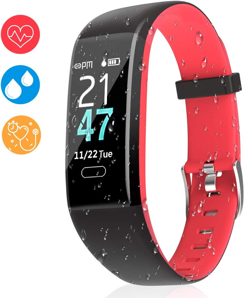 Aitbay Fitness Tracker Heart Rate, IP68 Waterproof Activity Tracker with Sleep and Blood Pressure Monitor, USB Charging Smart Band Pedometer Calorie Counter for Men Women and Kids