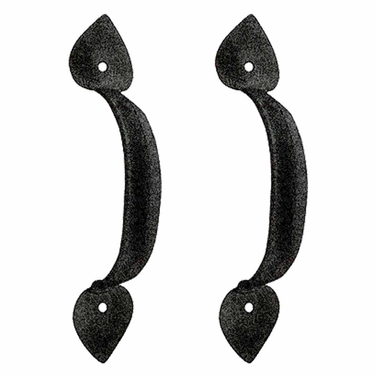 Black Wrought Iron Pull For Drawer Or Door Heart 6.785in H Set Of 2